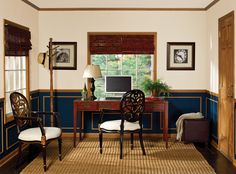 Add a traditional touch to your home office by creating faux wainscoting using prefinished moulding from Inteplast Building Products. Moldings And Trim, Moulding, Faux Wainscoting, Building Products, Next Door, Home Office, Beautiful Places, Diy Projects, Accent Walls