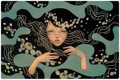 """""""A mermaid found a swimming lad,  Picked him up for her own, Pressed her body to his body, Laughed; and plunging down Forgot in cruel happiness That even lovers drown.""""  ― W.B. Yeats   [Audrey Kawasaki]"""