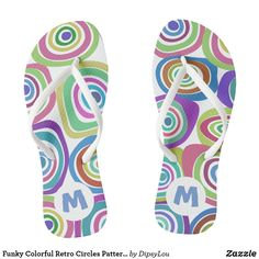 Shop Funky Colorful Retro Circles Pattern Monogram Flip Flops created by DipsyLou. Circle Pattern, Summer Accessories, Animal Skulls, Diy Face Mask, Flipping, Pink And Green, Circles, Me Too Shoes, Flip Flops