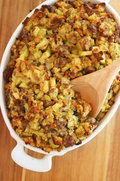 Best Ever Sausage, Sage and Apple Stuffing – This crisp, soft sausage and apple stuffing is one of my all-time favorite comfort foods, and a must for our holiday feasts. | thecomfortofcooking.com