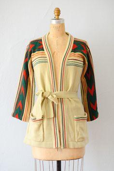 vintage 1970s red green cream arrow print cardigan