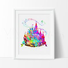 Cinderella Castle Watercolor Art. This art illustration is a composition of digital watercolor images and silhouettes in a minimalist style.