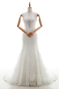 Romantic+Trumpet-Mermaid+Sweetheart+Natural+Court+Train+Tulle+and+Lace+Ivory+Sleeveless+Zipper+With+Buttons+Wedding+Dress+with+Appliques+and+Beading+LD4274