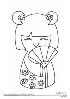 Kokeshi Doll Coloring Page - Japan