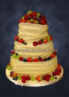 www.scrumptiouscakes.co.uk (792) - 3 tier white chocolate wrap wedding cake with fresh fruit.