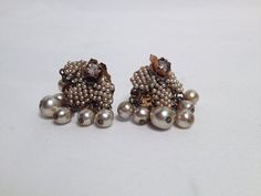 Vintage 1950's Miriam Haskell Pearl Clip-On Earrings