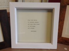 White wood deepset box frame with hand-typed Radiohead lyrics OR quote of your choice Anniversary Ideas For Him, First Wedding Anniversary, Paper Anniversary, Radiohead Lyrics, True Love Waits, Typed Quotes, Hand Type, Rustic Feel, Box Frames