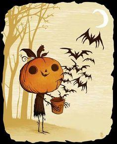 halloween tekening, vogels, pompoen hoofd