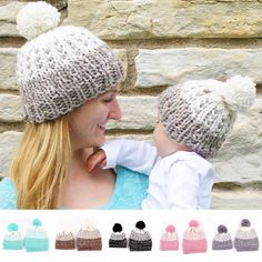 0a5a9ad4b93 2016 New Family Matching Mother Baby Kids Toddler Boy Girl   Mom Knit Warm  Soft Beanie Hat Hairball Cap -in Skullies   Beanies from Women s Clothing  ...