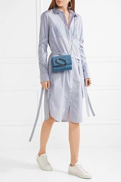 Tibi - Striped Cotton-poplin Dress - Blue - US8