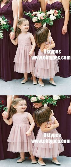 A-Line Round Neck Long Blush Tiered Tulle Flower Girl Dresses, TYP0909