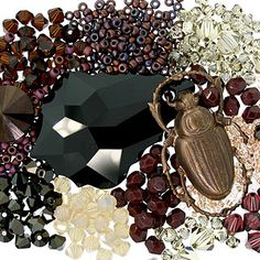 Ancient - Classic black, deep burgundy and maroon, dusty yellow, and dark brass.  Try mixing Swarovski Elements in Jet, Burgundy, and Jonquil Satin with Maroon pearls or fire polished glass beads.  Weave together seed beads using the netting or herringbone technique for an antiquated look, or string a Baroque pendant from a strand of crystals and pearls for a classic feel.