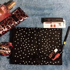 Makeup Bag Polkadots Brandnew without tag. Trifold with two pockets. Colors are black and baby pink. Very sute and pretty.  not a VS just needs some exporsure.  Victoria's Secret Accessories