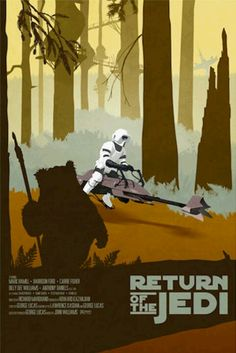 Star Wars trilogy poster set that features some wisely chosen elements in silhouettes