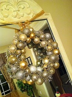 pretty wreath out of dollar store ornaments