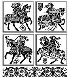 Les chevalier . Pattern for filet crochet, cross stitch. Instant download
