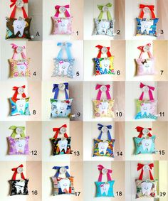 Personalized Tooth Fairy Pillows in 20 different designs! #kids