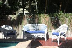 The upgraded seating area by the pool. This shot doesn't have the second rug in place but it is just like the one in the other pictures.  Have finished a large Spanish hutch and it will be in place in the next few days and will get pics then.