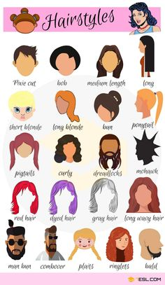 Hairstyle Names: Types Of Haircuts With Useful Pictures – 7 E S L Hairstyle Vocabulary in English English Time, English Verbs, English Vocabulary Words, Learn English Words, English Study, English Grammar, Vocabulary List, English Course, Fashion Vocabulary