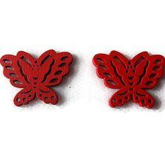 Embellissement papillon rouge en bois 22x28 mm, scrapbooking x2