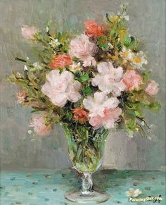 Roses In A Glass Artwork by Marcel Dyf Hand-painted and Art Prints on canvas for sale,you can custom the size and frame