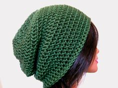 Green Slouchy Beanie Crochet Hipster Mens Oversize Womens Slouch Beanie. $22.00, via Etsy.