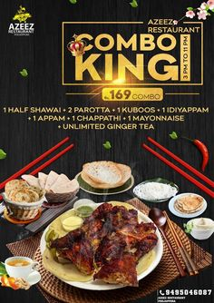 Combo King  # food offer # food combo # food menu # Restaurant Flyer # restaurant Menu #kingkombo #offer #tea #yummy #party #delicious #selfie #restaurant #foodpic #happyhour #burger #lounge #amazing #hospitality #gastronomia #dessert #foodlovers #azeez #trivandrum. Indian Food Menu, Indian Food Recipes, Eid Images, King Food, Restaurant Poster, Social Media Poster, Food Graphic Design, Ginger Tea, Nightingale