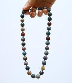Green gemstones necklace, Forest green natural stones summer necklace, dark green, brown, cream, light green, bohemian nature necklace