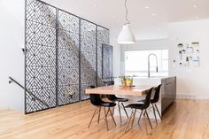 Geometric #patterns in this staircase #screen that allows light to pass through the room