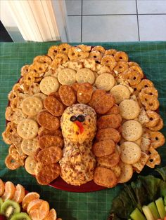 PLEASE NOTE: THIS IS A PHOTO ONLY! NO RECIPE! USE YOUR FAVORITE CHEESE BALL RECIPE and mold it to look like the Turkey's head! Arrange crackers & pretzels, using photo for inspiration. I apologize for the inconvenience! dwb ~ Thanksgiving cheese and cracker tray