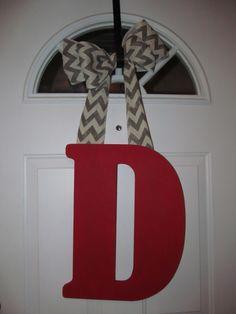 Solid initial door hanger with chevron burlap bow