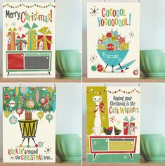 I'm sorry, we are approaching that time of year again. Which is why I'm talking about the Honey, It's Christmas! cards by Pennychoo. Christmas Cards, Merry Christmas, Cat Whiskers, 1950s, Honey, Retro, Halloween, Holiday, Xmas Cards