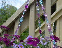 Pink purple blue hanging basket wire by statementbyemily on Etsy