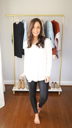 Four ways to wear Spanx Faux Leather Leggings outfits ideas Leggings Outfit Winter, Leather Leggings Outfit, Spanx Faux Leather Leggings, Leggings Style, Leggings Fashion, Shoes With Leggings, Leather Tights, Leather Skirts, Tights Outfit