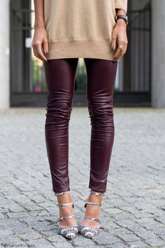 Love for burgundy red faux leather pants. #burgundy