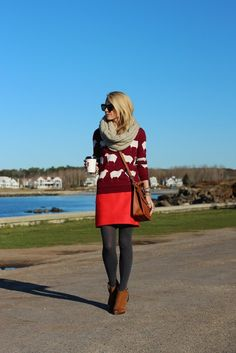 Atlantic-Pacific wearing the madewell sweater i want! Fall Winter Outfits, Autumn Winter Fashion, Grey Tights, Sweater Tights, Wool Tights, Sweater Skirt, Jumper, Atlantic Pacific, Look Alike