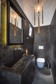 The restroom of Villa Sole is done with black cement and with a golden touch. Fun and nice. Vacation Homes For Rent, Naxos Greece, Black Cement, Luxury Villa, Beautiful Islands, Greek Islands, Touch, Holiday, Fun