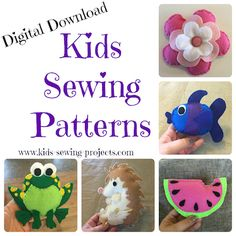 Pre beginner sewing lessons -Level 1 include activities and projects to teach kids 5-8 years old some basic sewing skills.