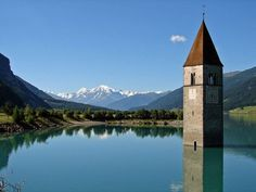 Lake Reschen in Sommer in South Tyrol