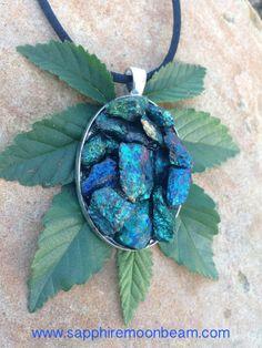 Peacock Ore, Chalcopyrite Pendant Handmade Blue Green Pink Gold stone Bohemian Hippie Metaphysical Magick Pagan Wicca, Third Eye on Etsy, $65.00
