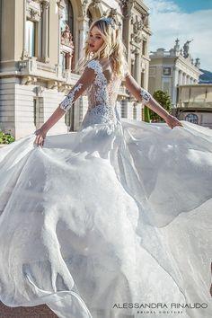 alessandra rinaudo 2017 bridal three quarter sleeves illusion boat plunging v neck heavily embellished bodice romantic a  line wedding dress illusion v back chapel train (beryl) bv