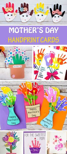 15 Mother's Day handprint cards for kids to make for mom and grandma: handprint flower cards flower pot cards heart cupcake and portrait cards. cupcakes 15 Mother's Day handprint cards for mom and grandma Kids Crafts, Easy Mother's Day Crafts, Mothers Day Crafts For Kids, Fathers Day Crafts, Baby Crafts, Toddler Crafts, Preschool Crafts, Happy Mothers Day, Cadeau Parents
