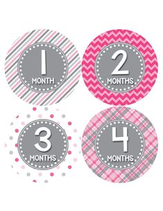 Baby Girl Monthly Baby Stickers Style #411 Baby month stickers are a great way to track your baby's growth through the first year. These monthly milestone stickers are a must have for every new mom. Place a photo sticker on your baby's one piece bodysuit, snap a photo and you have a perfect way to document your baby's growth from month to month. Our monthly stickers make a perfect shower gift for expectant mothers.