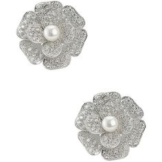 CZ By Kenneth Jay Lane CZ Pave Flower Earrings ($98) ❤ liked on Polyvore featuring jewelry, earrings, flower jewellery, cubic zirconia jewelry, flower jewelry, cz jewelry and flower earrings