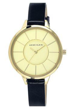 Anne Klein Round Slim Leather Strap Watch, 38mm | Nordstrom