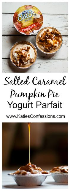 This salted caramel pumpkin pie yogurt parfait is a quick, easy and delicious snack, breakfast or dessert that takes just five minutes to throw together.  #ad #effortlesspies