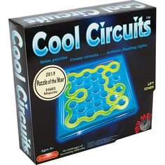Spatial reasoning, abstract thinking, a light-up game board and eight 3-D fluorescent puzzle pieces.