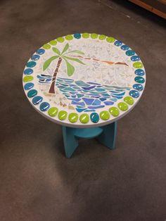 Glass mosaic palm tree side table.  Luanne Kane - Lead Lines Stained Glass Studio - Dunedin , Fl