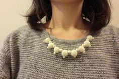 コットンパールとプチフェルトネックレス・スモールホワイト by myumyu アクセサリー ネックレス