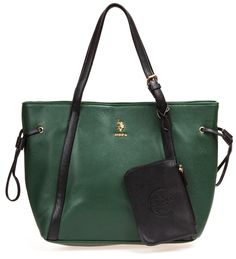 U.S. POLO ASSN. Women's Greenwich Color Block Mixed Media Tote Hunter Green/Black Tote. DURABLE GOOD LOOKS: The quality man-made materials are scuff-resistant and will stand up to long, enjoyable use. SIMPLE ORGANIZATION: The generous compartment of this bag features a large sidewall zip pocket, and two slip pockets. SLIM ADJUSTABLE PROFILE: Cinch this tote in to a compact, slender profile or let it expand to an overnight carryall using adjustable the side straps. VERSATILE: In the office…